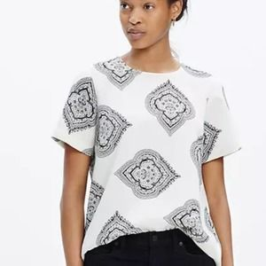Madewell White Blouse Tailored Tee Estate Paisley